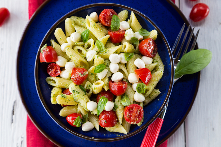 Farfalle and mozzarella Salad with Toasted Pine nuts and Cherry Tomatoes
